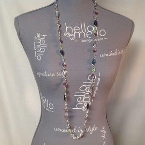 Anne Klein Silver Tone Multi Color Necklace